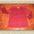 NICE LINDEN HILL BURGUNDY SILK TUNIC TOP JACKET LARGE L