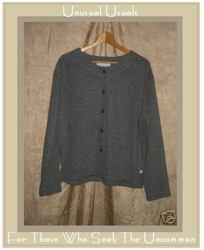 KN KAREN NEUBURGER Softest Gray Button Shirt Top Large