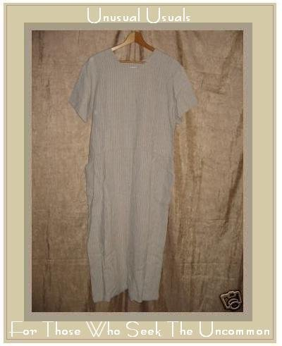 FLAX by Jeanne Engelhart Striped LINEN Pin Tuck Dress SMALL S