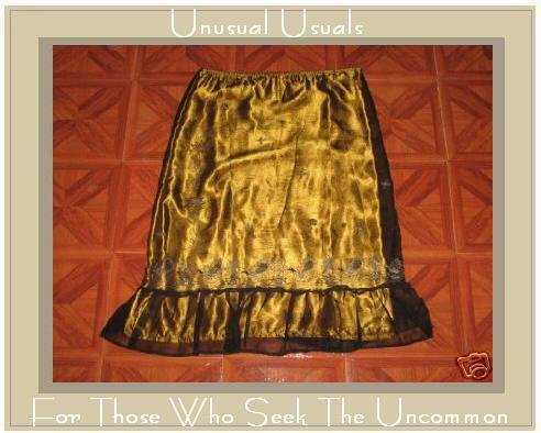 GOLD SHEAR ILLUSION EMBROIDERED PEACOCK RUFFLE SKIRT LRGE L