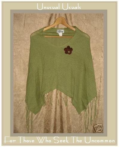 Jamie KREITMAN NEW YORK Poncho Sweater w Crochet Pin OS
