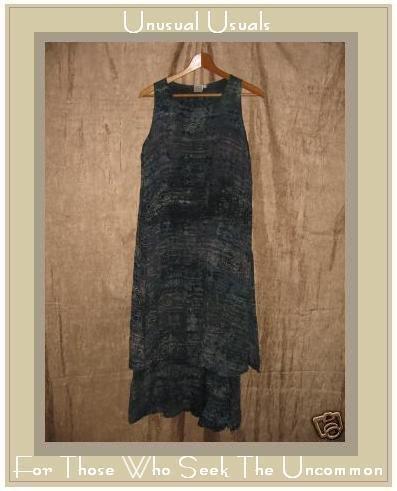 BAYOU WEAR Fabulous Blue Geometric Layered Dress Small S