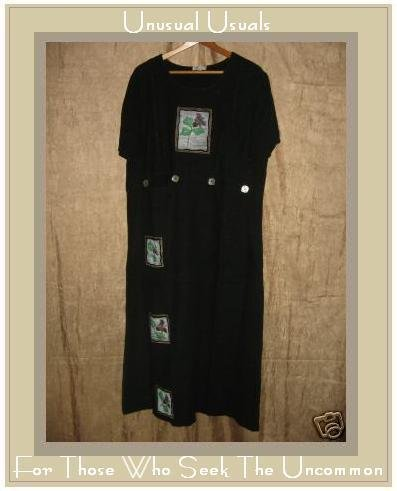 FOCUS Boutique Long Black Painted Linen Dress Large L