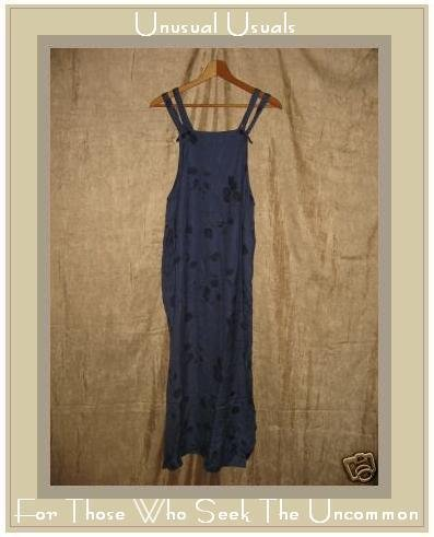 PUTUMAYO Long Leafy Blue Rayon Jump Dress Small S