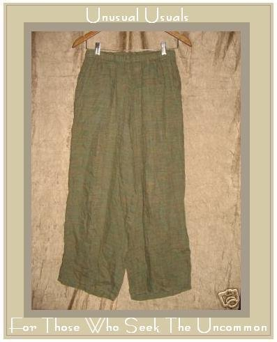 FLAX by Jeanne Engelhart Green Plaid LINEN Floods Pants SMALL S