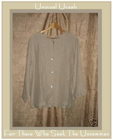 NEW Chico's Design Linen Silk FLEET JACKET Sand Size 2 MEDIUM M