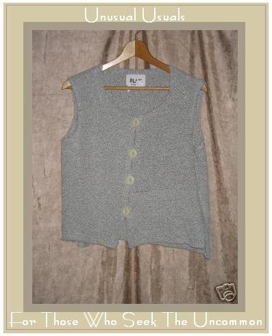 FLAX by ANGELHEART Soft Gray Sweater Jeanne Engelhart SMALL S MEDIUM M