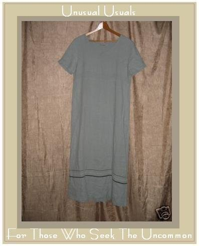 MATCH Blue LINEN Pullover Dress w Velvet Ribbon Trim 10 LARGE L