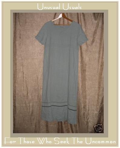 MATCH Blue LINEN Pullover Dress w Velvet Ribbon Trim 10 LARGE L