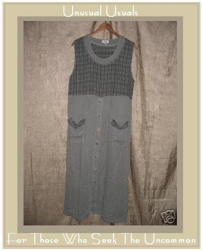 MAZI Tencel Dress w Clothespin Pockets & Art Buttons LARGE L
