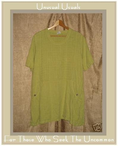 CLICK Green LINEN Skirted Pullover Shirt Tunic Top XS X-SMALL