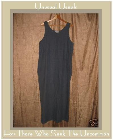 BOWMAN TRADING Blue LINEN Pullover Dress Size 2 MEDIUM M LARGE L