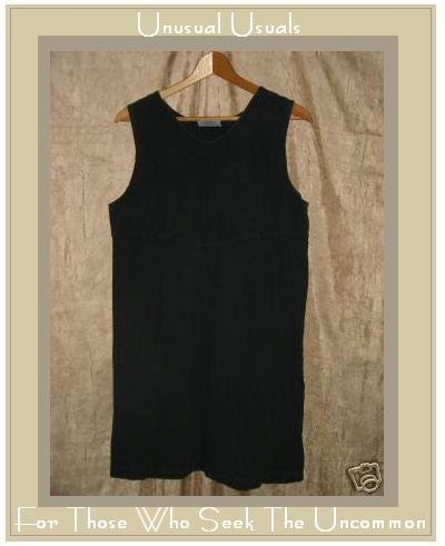 FRESH PRODUCE Black LINEN & COTTON Knee Dress Medium M