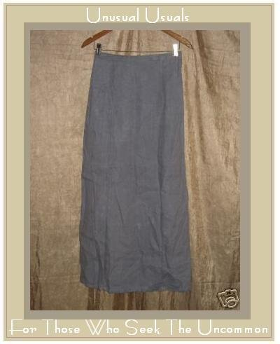 Tea & Scones Long Full Lavender Gray LINEN Skirt Large L