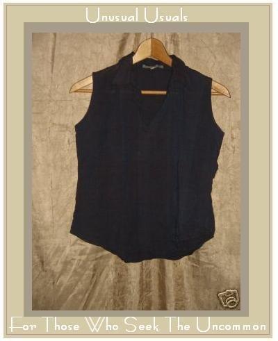 KHADDER Blue Hand Woven Boutique Cotton Shirt Top Small S