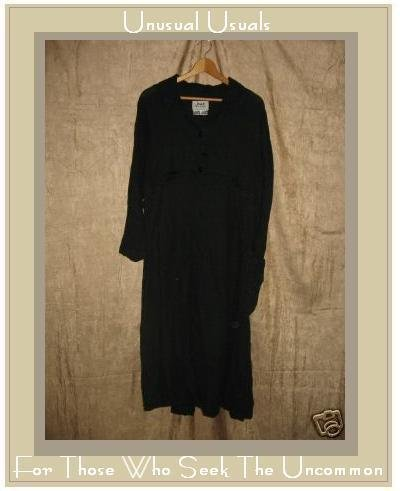 FLAX Black Empire Waist THERMAL LINEN Dress Engelhart PETITE P