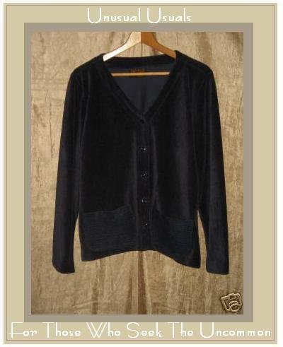 KINDRED SPIRIT Blue Corduroy Velour Jacket Top Medium M