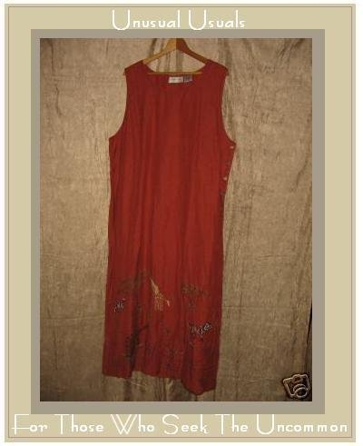LEMON GRASS Long Terracotta Tunic Dress w Wild Trim 2X
