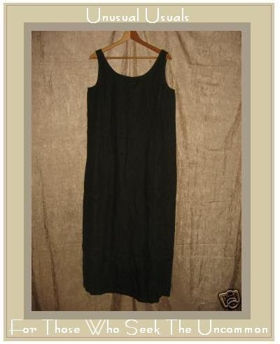 EILEEN FISHER Dark Forest Green LINEN Jumper Dress MEDIUM M