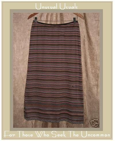 Neesh by D.A.R. Colorful Striped Crochet Knit Skirt SMALL S