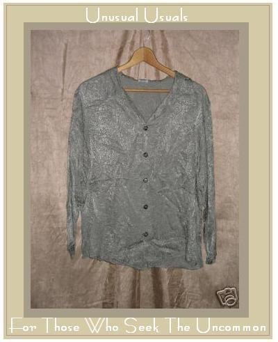 CP SHADES Shapely Sage Rayon Button Shirt Top Small S