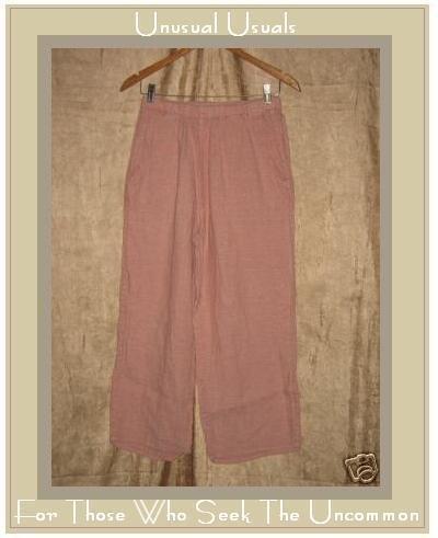 FLAX Pink Textured LINEN Floods Pants Jeanne Engelhart