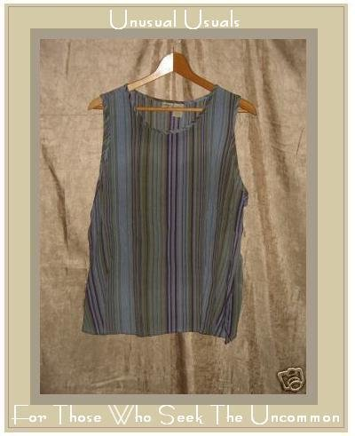 Islander Striped Rayon Pullover Tank Shirt Top Large L