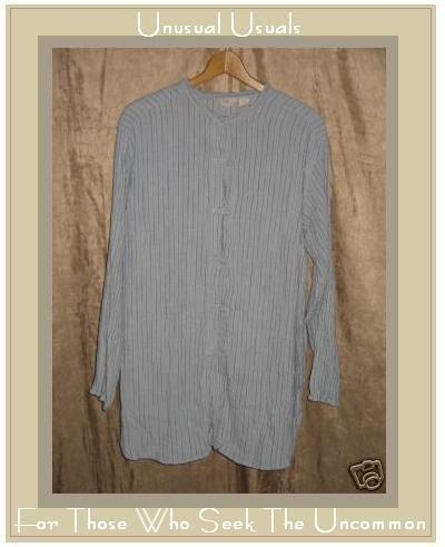 J. Jill Textured Blue Rayon LINEN Asain Tunic Shirt 2X
