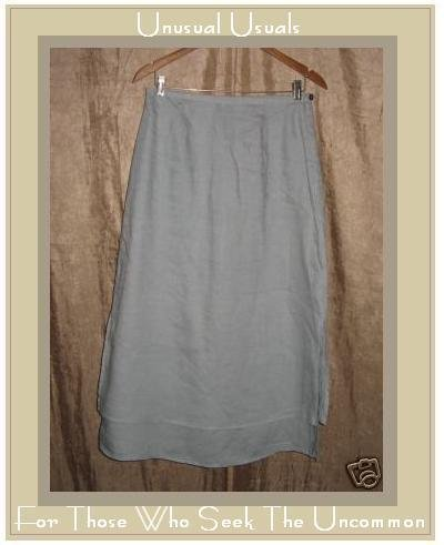 J. Jill Long Flirty Soft Blue Layered LINEN SKIRT 10P