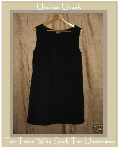CLICK by Color me Cotton Black LINEN Knee Dress Small S