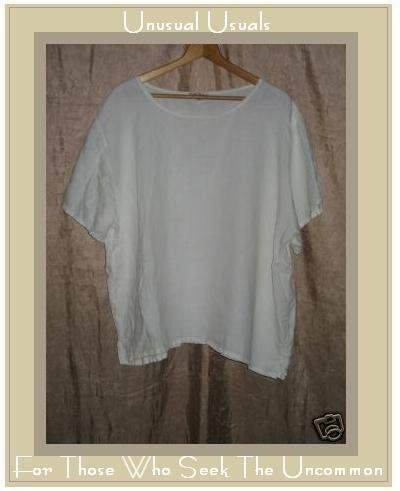 EARTH TONES Alywear Aly Wear White LINEN Shirt Top 2X