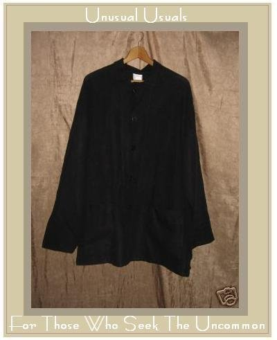FLAX by Angelheart Jeanne Engelhart Black Linen Jacket SMALL S