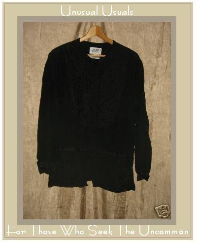 FLAX by Jeanne Engelhart Skirted Black Snappy Jacket SMALL S