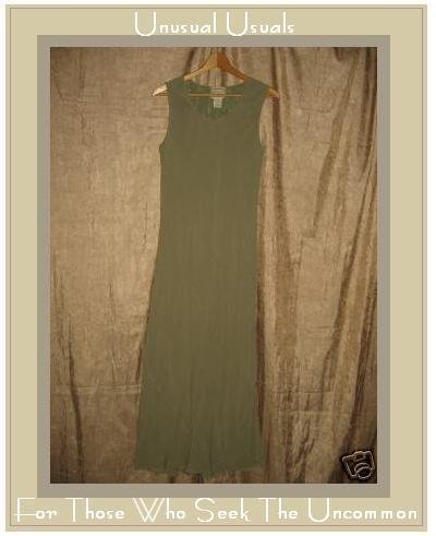 April Cornell Long Bias Cut Sage Green Dress Lined LARGE L
