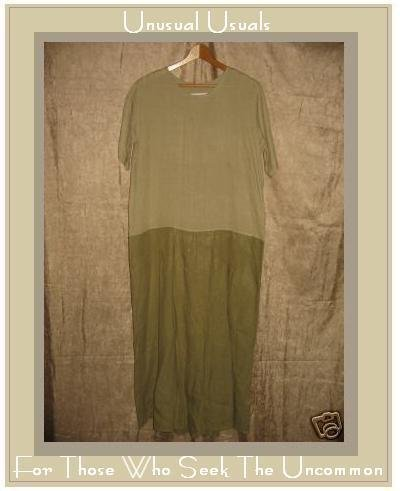 FLAX by Jeanne Engelhart Green Box Pleated Dress Small S