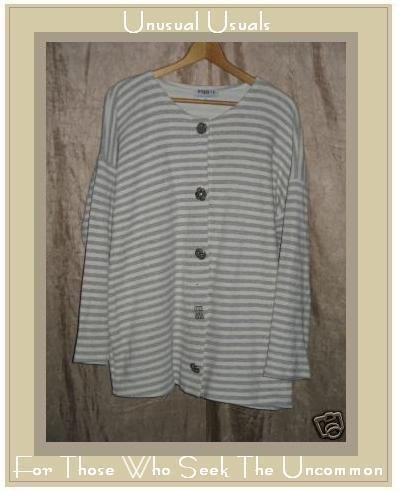 Baggy T's Soft Gray & White Cardigan Shirt Top Size 1 S