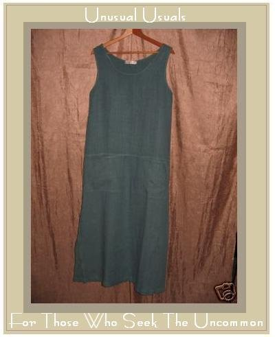 CUT LOOSE Blue LINEN Drop Waist Pullover Dress Small S
