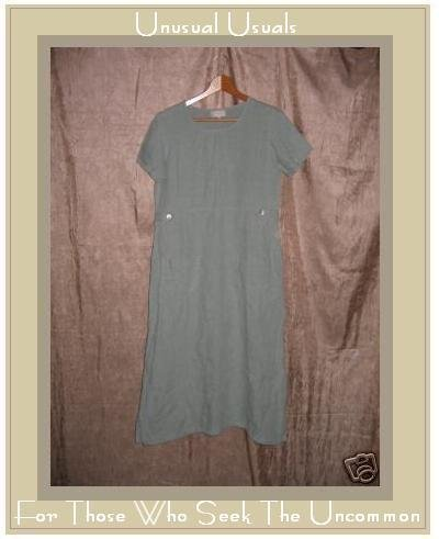 J. Jill Long Blue Gray LINEN Shapely Pullover Dress XSP X-SMALL PETITE