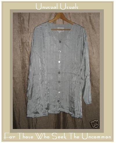 Flax by Jeanne Engelhart Silver Skirted Tunic Shirt MEDIUM M