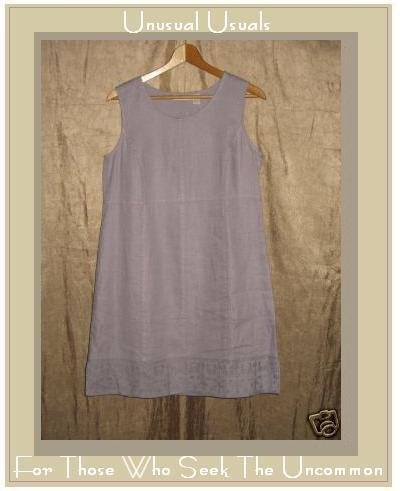 J. Jill Lavender LINEN Embroidered Hem Dress Small PS PETITE SMALL
