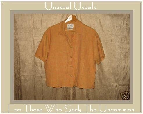 Flax by Jeanne Engelhart Orange Shapely Linen Shirt LARGE L