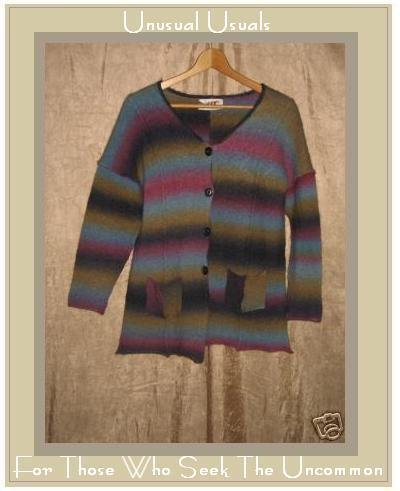 Flax by Jeanne Engelhart Rainbow Striped Sweater Wool MEDIUM M