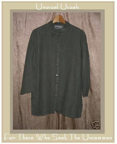 Chico's Design Nice Gray Linen Shirt Tunic Top Size 2