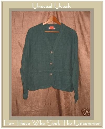 CUT LOOSE Blue LINEN Boxy Button Jacket Top Small S