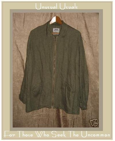 FLAX by Jeanne Engelhart Boxy Linen Zipper Jacket MEDIUM M