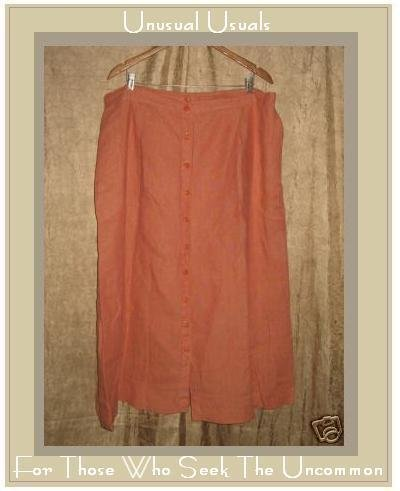 FLAX by Jeanne Engelhart Orange LINEN Button Skirt 3G
