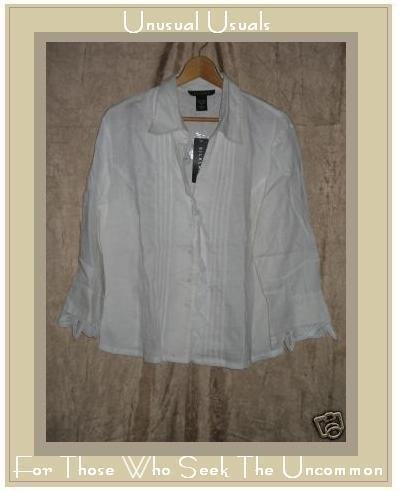 NEW SILKLAND White LINEN Battenburg Lace Shirt Top SZ12