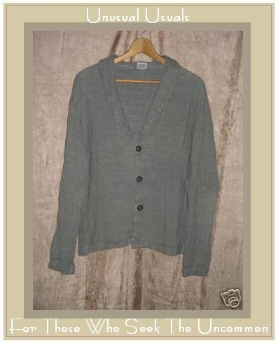 CP SHADES Earthy Textured Linen Rayon Jacket Gray Large L