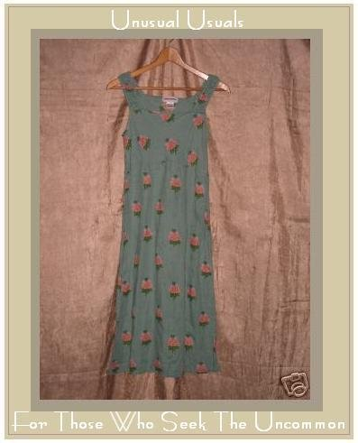 Cute SOLITAIRE Funky Blue Floral LINEN DRESS X-Small XS