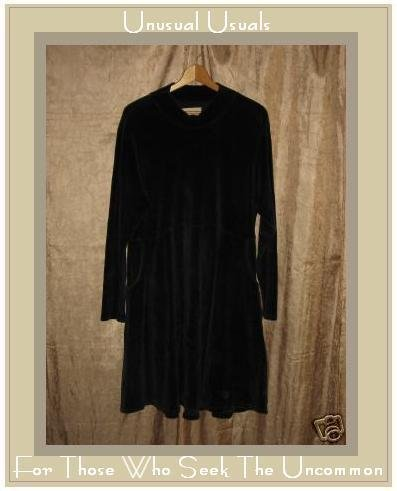 Jeanne Engelhart Flax Black Cotton Velour Dress Small S